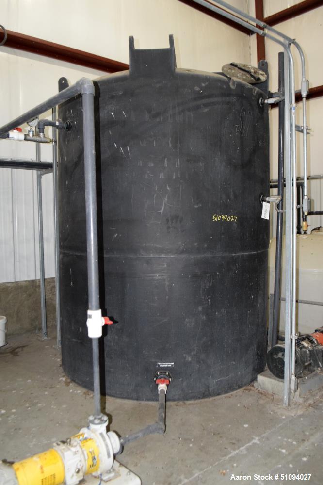 "Used- SII Snyder Polypropylene Tank, 3000 Gallon, Model ASM TK 3000VDT X 90, Vertical. Approximate 90"" diameter x 108"" strai..."