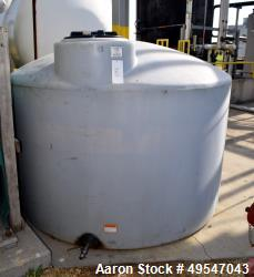 Used- Poly Tank, Approximate 1550 Gallon. Dished top, flat bottom.