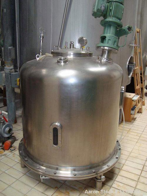 Used-ALA-AARUP agitated mixing tank. Material of construction is 316 stainless steel. 317 gallon (1200 liter) working capaci...