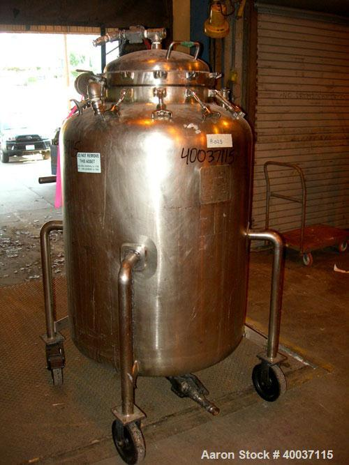 """Used-Used: Walker Stainless Pressure Tank, 150 gallon, 316 L stainless steel, vertical. 34"""" diameter x 39"""" straight side, di..."""
