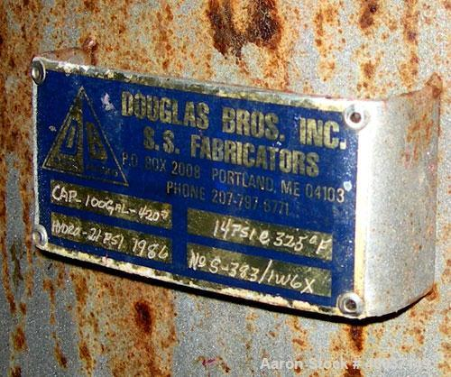"Used-Used: Douglas Brothers tank, 100 gallon, stainless steel, vertical. 36"" diameter x 24"" straight side, dished top and bo..."