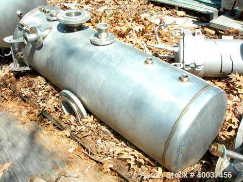 """Used- Designers Fabricators tank, 80 gallon, stainless steel, vertical. 20"""" diameter x 56"""" straight side, slight dished bolt..."""