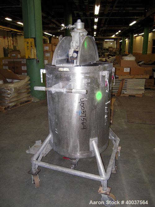 """Used- Acme Tank, 95 gallon, stainless steel, vertical. 28"""" diameter x 36"""" straight side, rated atmo at 325 deg.f.. Open top ..."""