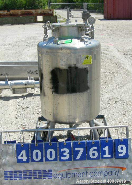 "Used- Acme Pressure Tank, 40 gallon, 304 stainless steel, vertical. 22"" diameter x 24"" straight side, dished top and bottom...."