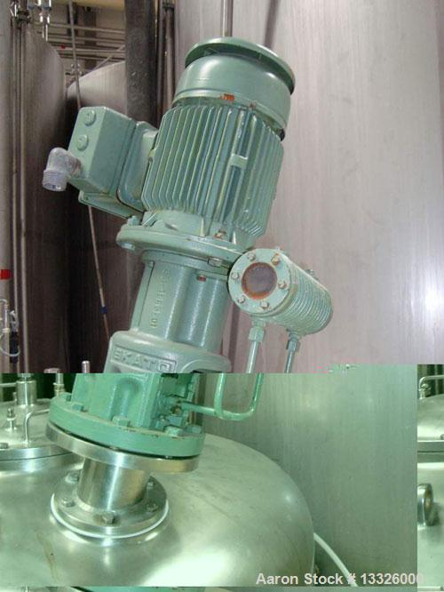 Used- ALA-AARUP Agitated Mixing Tank, 317 Gallon (1200 liter), 316 Stainless Steel, Vertical. Internal rated 30 psi (2 bar)....
