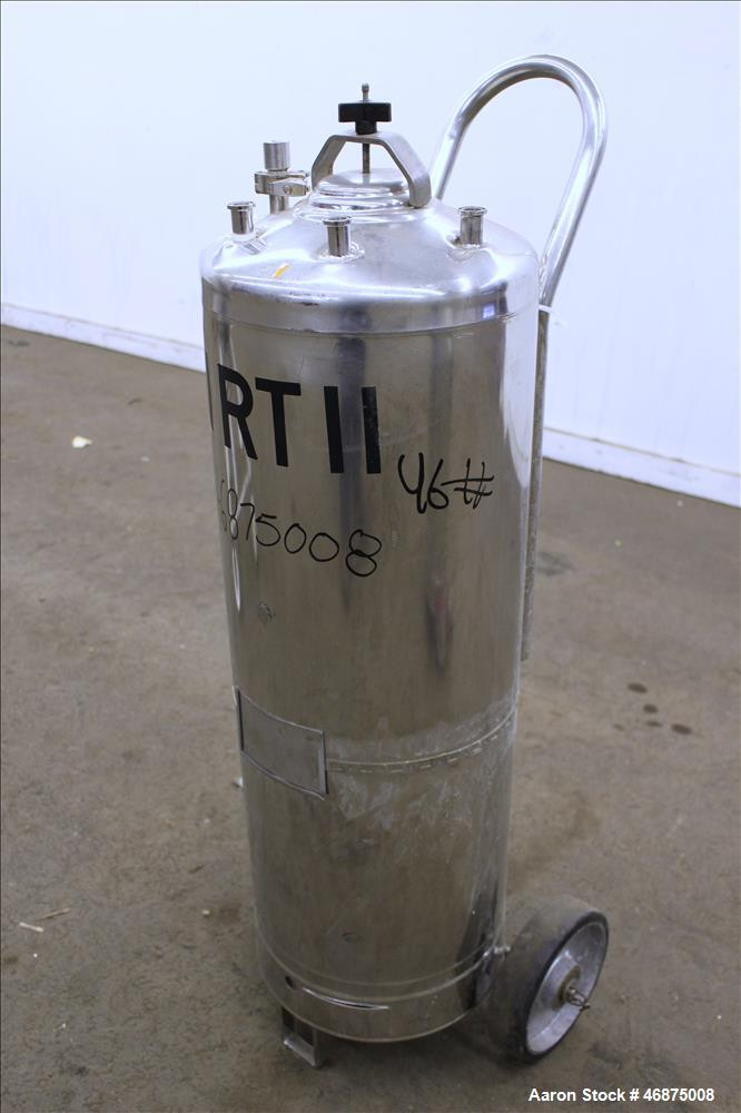 """Used- Alloy Products Tank, 60 Liter (15.8 Gallons), 316 Stainless Steel, Vertical. Approximate 12"""" diameter x 29"""" straight s..."""