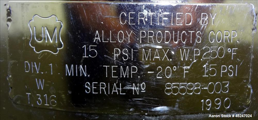 Used- 36 Gallon Stainless Steel Alloy Products Pressure Tank