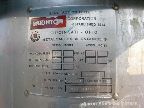 Used- 50 Gallon Stainless Steel Brighton Pressure Tank