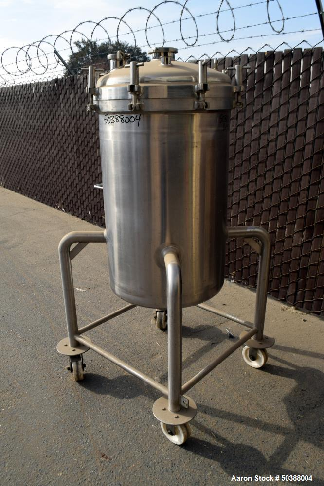 """Used-  Cherry-Burrell Pressure Tank, 200 Liter (52 Gallon), 316L Stainless Steel, Vertical. Approximate 24"""" diameter x 31"""" s..."""