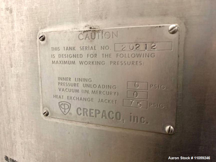 Used-850 Gallon Crepaco Stainless Steel Jacketed Mix Tank