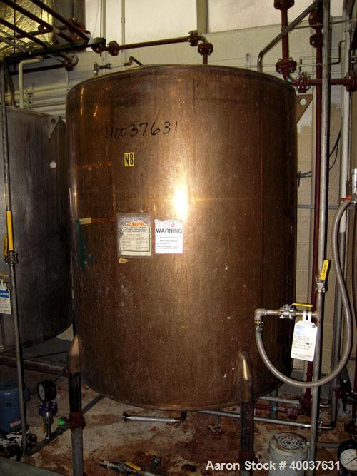 "Used- Ertel Tank, 580 Gallon, Stainless steel, Vertical. 53"" diameter x 60"" straight side, flat top, slight dished bottom. O..."