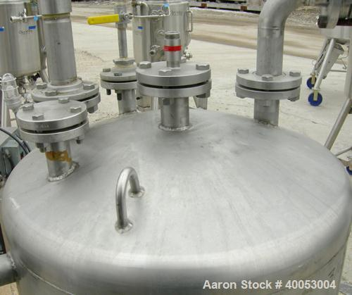 """Used: Four Corp Approximately 100 Gallon, 316L Stainless Steel, Vertical.  30"""" diameter x 32"""" straight side.  Dish top and b..."""