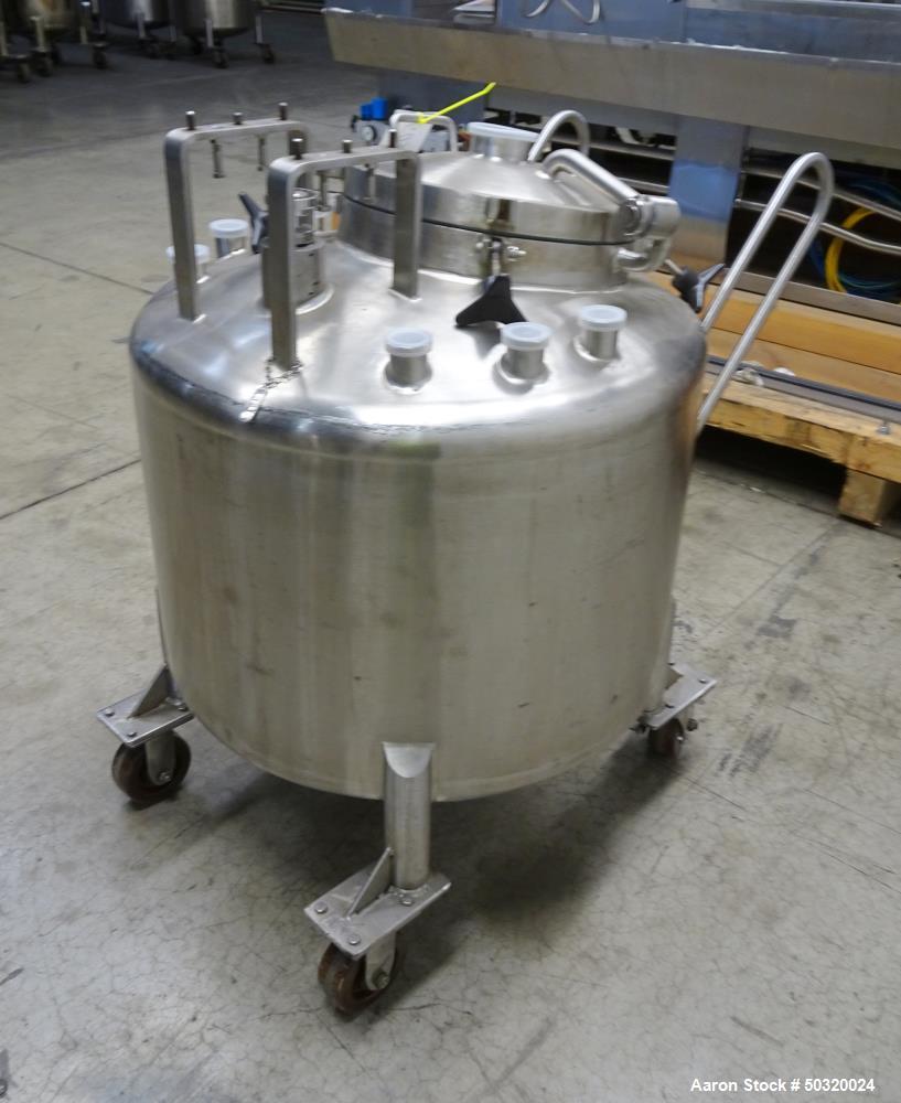 """Used- Lee Industries Pressure Mix Tank, 250 Liter, Model 250 LDBT, 316L Stainless Steel, Vertical. Approximate 30"""" diameter ..."""