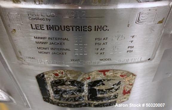 Used-Lee Industries 250 liter, Stainless Steel Vacuum Kettle- 250L DBT- Stainless Steel Vacuum Kettle- 250 Liter- Propeller ...