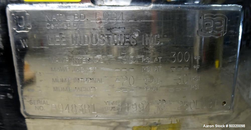 Used- Lee Industries Pressure Mix Tank, 250 Liter, Model 250 LDBT, Stainless Ste
