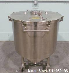 Used- 92 Gallon (350 Liter) Sanitary Stainless Steel tanks. Flat, lift off lid. Cone bottom to side bottom outlet. Electro-p...