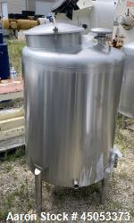 """Used- Stainless Steel Tank, Approximate 135 Gallon, 304 Stainless Steel, Vertical. Approximate 33"""" diameter x 37"""" straight s..."""