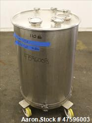 Used- Tank, Approximate 50 Gallon, 316 Stainless Steel, Vertical.