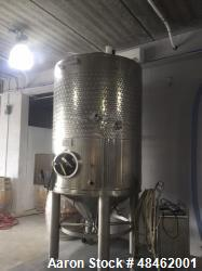 Ganimede Diaphragm Tank. Red Fermenter, 44 HL, 3 ton capacity. 304 stainless steel. Conical top. In...