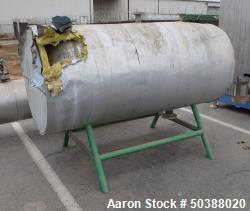 """Used- Tank, Approximate 300 Gallon, Stainless Steel, Horizontal. Approximate 36"""" diameter x 60"""" straight side, dished heads...."""