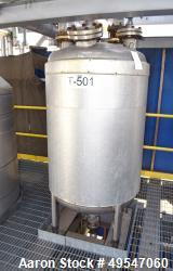 "Used- Mueller Condensate Pressure Tank, 225 Gallon, 304L Stainless Steel, Vertical. 36"" Diameter x 47"" straight side, dished..."