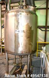 "Used- Mueller Pressure Tank, 400 Gallon, 304 Stainless Steel, Vertical. Approximate 48"" Diameter x 48"" straight side, dished..."