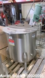 "Used- Perma-San 95 Gallon Mix Tank, Model 95 Gallon JOVS, Stainless Steel, Vertical. Approximate 29-3/4"" diameter x 31"" deep..."
