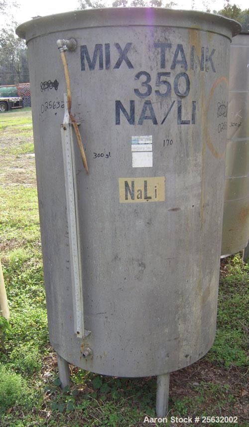 """Used- Tank, 260 Gallon, Stainless Steel, Vertical. 35"""" diameter x 60"""" straight side. Flat top, no cover, dish bottom. 1-1/2""""..."""