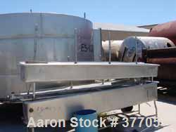 """Used- Pipe Wash Tank, Stainless Steel. 18-3/4"""" Wide x 53-3/4"""" long x approximately 12"""" deep. Mounted on 4 legs. 2"""" outlet."""
