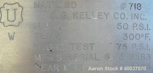 """Used- O.G. Kelley Co. Pressure Tank, 55 gallon, 304 stainless steel, vertical. 24"""" diameter x 27"""" straight side, dished top ..."""