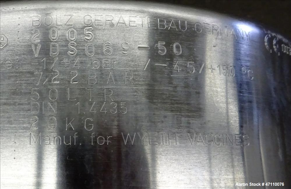 Used- Bolz Rutten Sterile Storage Systems Pressure Tank, 13.2 Gallon (50 Liter) Capacity, 316L Stainless Steel, Vertical. Ap...