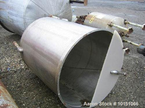 "Used-Sani Tank Approximately 300 Gallon Stainless Steel Tank. 3'6"" diameter x 4' straight side with open top and flat slopin..."