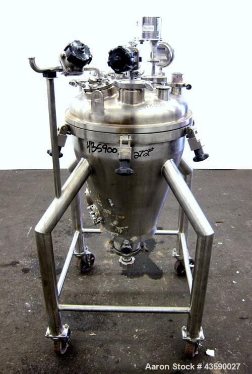 Used- 50 Liter Stainless Steel T&C Stainless Coned Pressure Tank
