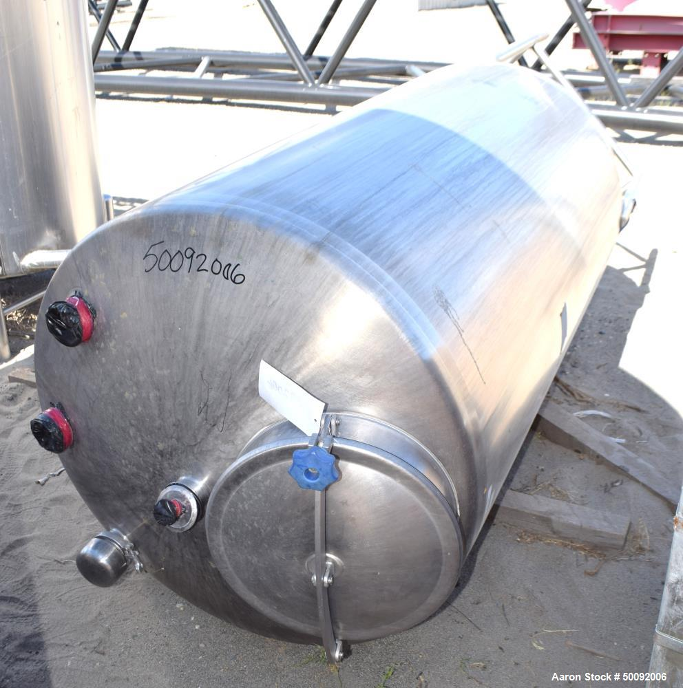 Used- Tank, Approximate 450 Gallon, Stainless Steel, Vertical.