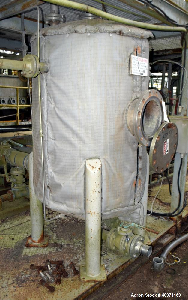 """Used- Thibs Machine & Welding Tank, 202 Gallon, 316 Stainless Steel, Vertical. Approximate 36"""" diameter x 48"""" straight side,..."""
