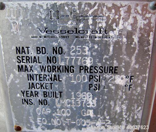 """Used- Vesselcraft pressure tank, 100 gallon, stainless steel, vertical. 36"""" diameter x 20"""" straight side, dished top and bot..."""