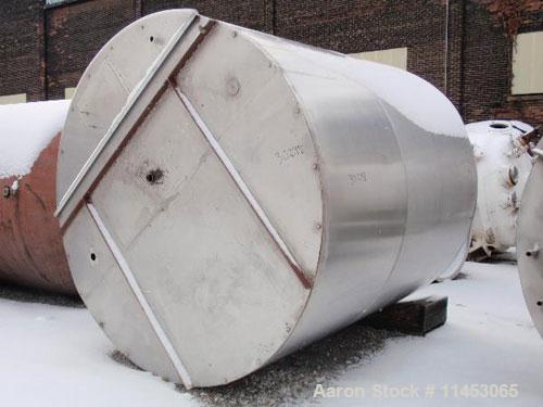 "Unused-3000 gallon Tolan tank, stainless steel, 8' diameter x 8'6"" straight side, flat bolt on top, slight dish bottom, 2"" c..."