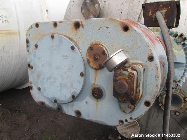Used- 4500 Gallon Agitated Tank. 316 stainless steel construction. Approximately 8' diameter x 11' straight side, dish top a...