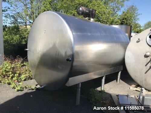 Used-2000 Gallon (approximately) Horizontal Stainless Steel Mix Tank