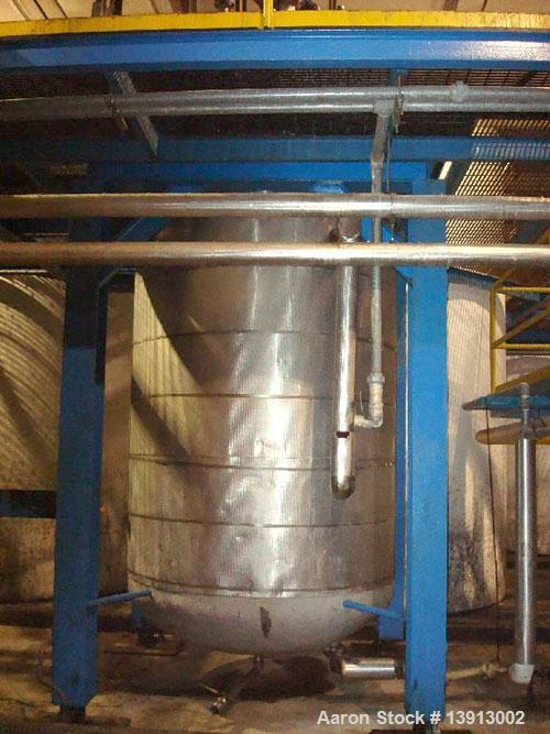 "Unused-Used: 2500 gallon stainless steel mixing tank. Dish 144"" side wall x 72"" diameter, 19' overall height. 3 hp motor @ 1..."