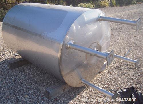 "Used- Alloy & Steel Fab tank, 1100 gallon, stainless steel, vertical. 68"" diameter x 72"" straight side. Flat top with 20"" ma..."