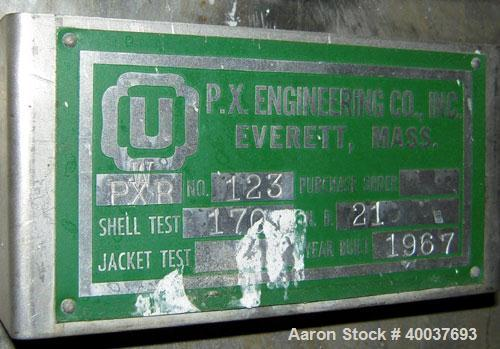 """Used- P.X. Engineering Tank, 2000 gallon, Stainless steel, Vertical. Approximately 84"""" diameter x 72"""" straight side, dished ..."""