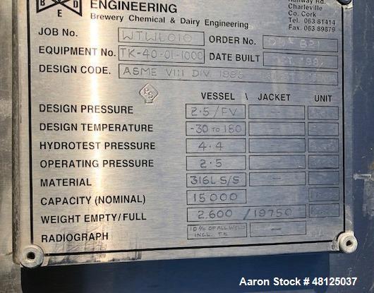Used- BCD Engineering Storage Tank, 3962 Gallon