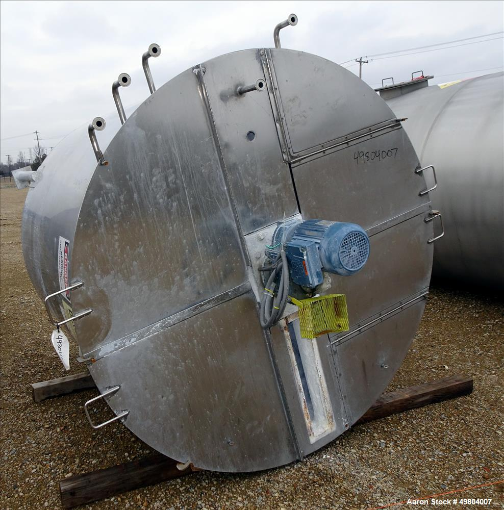 Used-1,000 Gallon, Vertical, Stainless steel, Vertical, With Agitator. Tank Only, No Mezzanine or stairs.