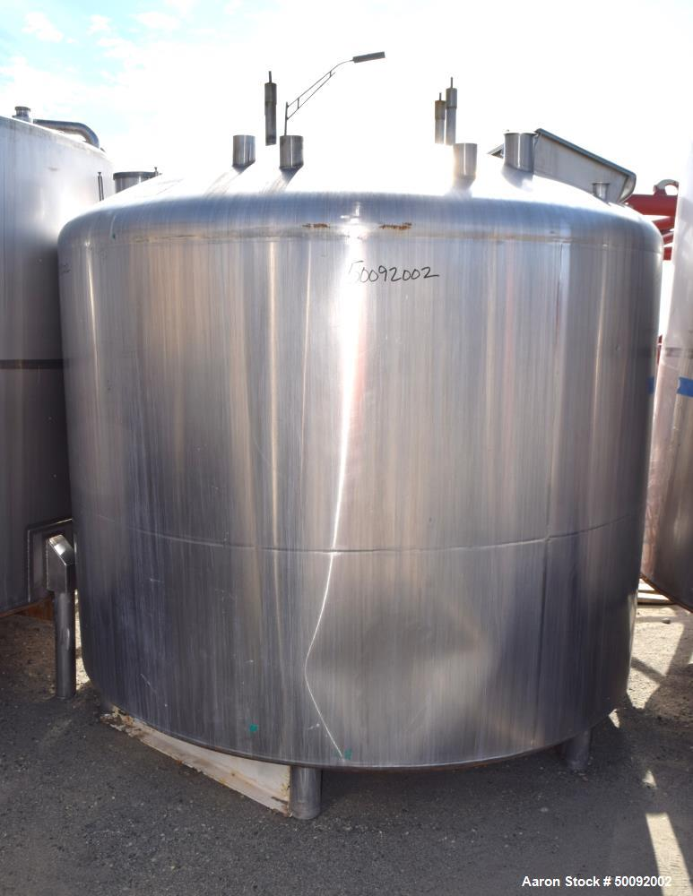 Used-Item K-Mueller 2000 gallon dome top mix tank, stainless steel, 3 HP. sweep agitators, manway, load cells, piping, valves