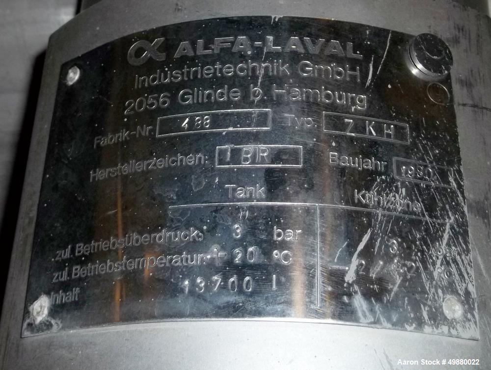Used-Alfa Laval tanks, type ZKH Capacity 13700 liter (3624), 316 stainless steel. Rated for 3 bar (45 PSI) at 20 deg C. (76 ...