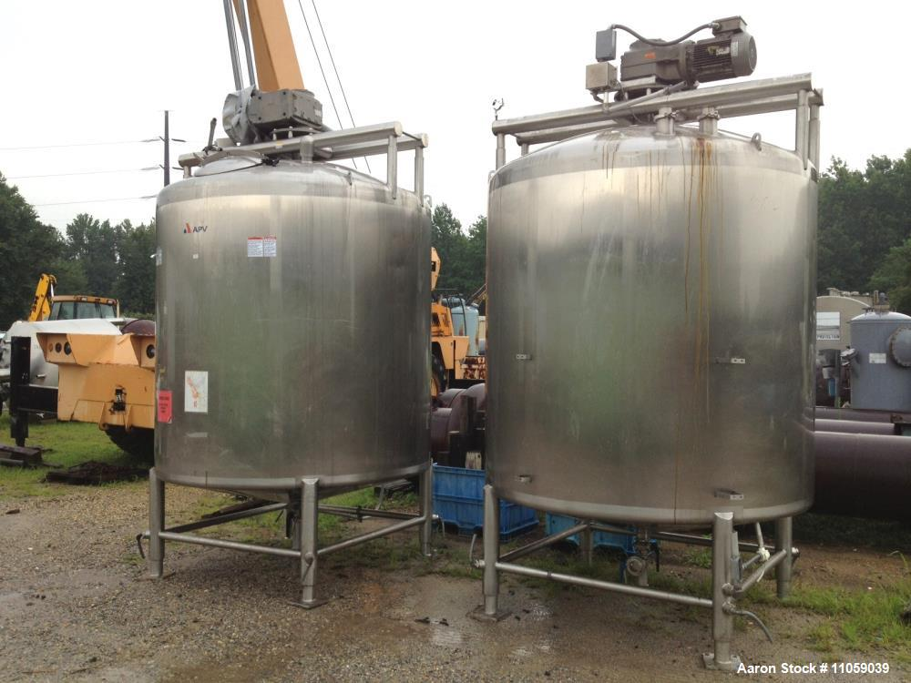 Used- 2000 Gallon APV Sanitary Construction Sweep Agitated Mix Tanks