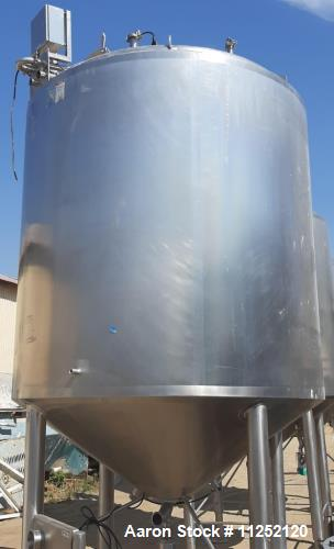 Used- Tank, 1,500 Gallon, 316 Sanitary Stainless Holding Vessel
