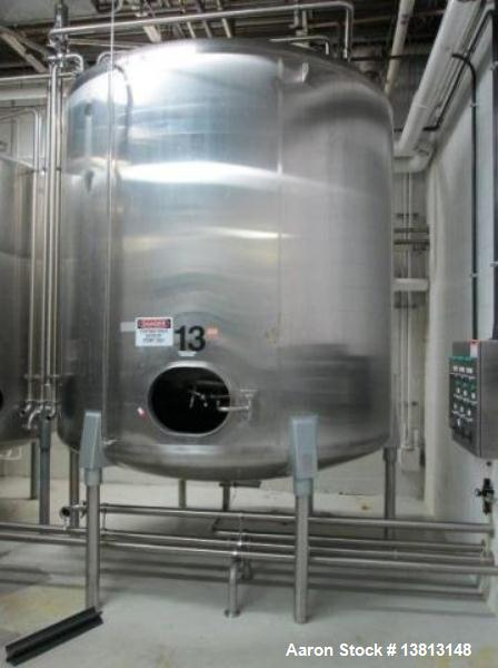 Used-Cherry Burrell Stainless Steel Tank with  5 hp side agitator, 8' straight wall, 9' diameter, 15' overall length, domed ...