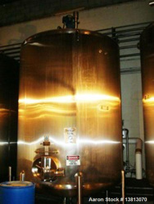 Used-Cherry Burrell 3,700 Gallon Top Agitated Mixing Tank. Single wall top agitated mixing tank with dual CIP spray ball and...